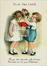 REPRINT PICTURE of old postcard VALENTINE ACCEPT THIS HUMBLE GIFT OF MINE 5x7