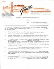 Original 2-Page SF Giants Radio Broadcast Boilerplate Agreement Letter