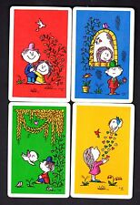 Vintage Swap Cards - Girl & Boy & Cupids x 4 (BLANK BACKS)