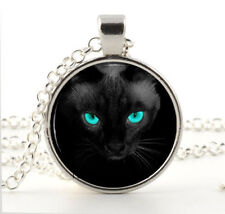 Vintage Blue-eyed cat Cabochon Silver plated Glass Chain Pendant Necklace/r1