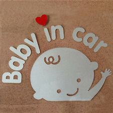 """Baby In Car"" Waving Baby on Board Safety Sign Car Decal / Vinyl Sticker 2pcs"