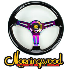 """BLACK WITH NEO CHROME CENTER STEERING WHEEL 350MM/14"""" DEEP DISH CLASSIC"""