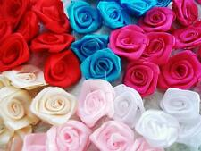 "60 Big Hand Made Satin Ribbon Rose Flower 1.25""/Sewing/Trim/Bow Mix 6 Colors F82"