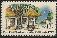 US 1725 First Civil Settlement Alta California 13c single MNH 1977