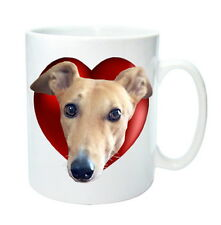 Greyhounds Mug Hearts & Fawn Greyhound. Valentine Gift % to Hound Charity
