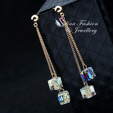 18K Yellow Gold Plated Swarovski Element Double Chain & Water Cube Drop Earrings