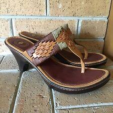 NURTURE Leather Thong Brown Heel Wedge Sandals 7 Slip On Boho Woven Hippie