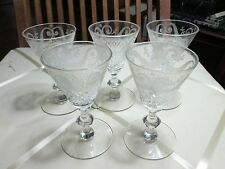 SET 5 ANTIQUE CUT CRYSTAL Etched Swags GLASS STEM Port / Sherry Glasses