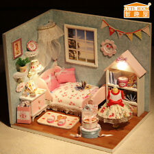 New Kits DIY Wood Dollhouse miniature with LED+Furniture+cover Doll house room 9