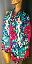 Custo Barcelona Silk SCARF Hot Pink Flowers Girl Blue Hair Batik Style