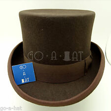 Wool Felt Topper Top Hat Victorian Tuxedo Men | 59cm | Brown | CLASSIC x FORMAL