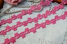 Delicate hot pink floral lace trim- ribbon - price for 1 yard