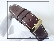 Offer:Omega Gold Buckle fitted w 20mm X LONG Brown Calf Leather Watch Band Strap