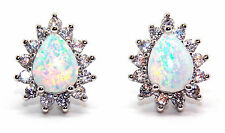 Sterling Silver Fire Opal And Diamond 2.98ct Pear Cut Stud Earrings (925)