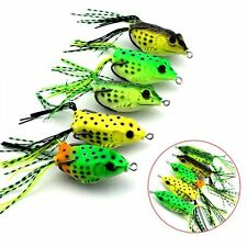 Lot 5 PCS Cute Frog Topwater Fishing Lure Crankbait Hard Hooks Bass Bait Tackle