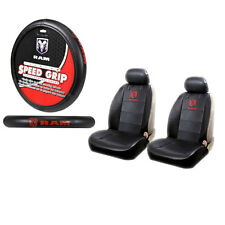 New Dodge Ram Premium Sideless Front Seat Covers & Steering Wheel Cover Set