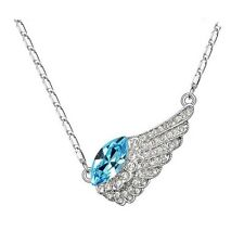White Gold Plated Blue Austrian Crystal Angel Wing Necklace Imitation Diamond