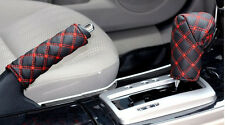 PU Leather Gear Shift Knob + Handbrake Grip Cover Protector Gloves Set Red