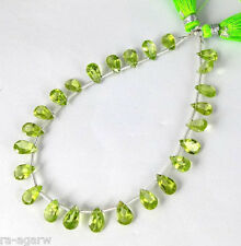 """1 Strand Peridot Pear Shape Faceted Drilled Gemstone Briolette 5X7mm 8"""" Long"""