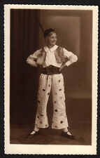 CUTE BLOND WOMAN in FUNKY CIRCUS CLOWN COSTUME FASHION! 1920s VINTAGE PHOTO!