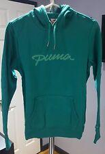 N) Puma Women Teal Green Blue Pullover Hoodie Sweatshirt Medium