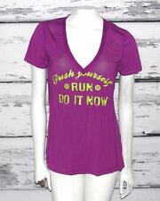 LULULEMON~SILVERESCENT *PUSH YOURSELF~RUN~DO IT NOW* RUCHED ENERGY TEE SHIRT~12