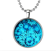 Glow in the Dark Vogue Snowflake Cabochon Tibet silver Glass Pendant Necklace