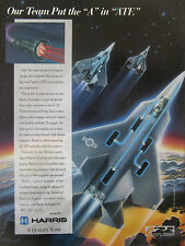 8/1991 PUB HARRIS AEROSPACE FIBER OPTICS SYSTEM LOCKHEED F-22 ATF FIGHTER AD