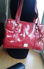 Liz Claiborne Purse Shoulder Tote Bag Bright Red Logo Faux Patent Leather EUC