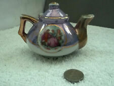 MINIATURE TEAPOT IN PURPLE AND WHITE  WITH COURTING COUPLE SCENE   NO MAKER