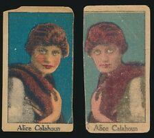 1920's W-Uncataloged Actor Strip Cards (Upper & Lower Case) -ALICE CALHOUN (x2)