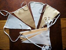 GOLD & CREAM FABRIC BUNTING  WEDDINGS PARTYS FLAGS 20 foot long