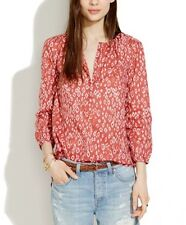 Madewell XS Shirred Popover Top in Leopard Fade Print, Orange Cotton