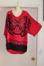 NWOT AUTOGRAPH RED STUDDED TOP WITH GORGEOUS BUTTERFLY PRINT SIZE 22