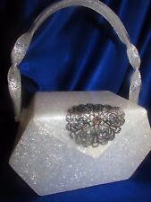 VINTAGE  WILARDY WHITE MOTHER OF PEARL PINK/GREEN HUES  LUCITE PURSE WITH GEMS!!
