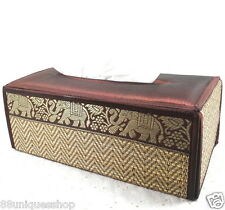 Tissue Box Cover Natural REED Wicker Handmade Brown Silk Rectangular Vintage New
