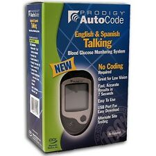 PRODIGY AUTOCODE TALKING BLOOD GLUCOSE METER KIT W/ 10 TEST STRIPS 4 LANGUAGES