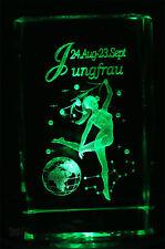 3D Glas Kristall Block Sternzeichen Jungfrau ♍ star sign Virgo Laser Gravur Box