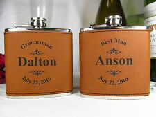 Personalized Engraved Flask Groomsman Groomsmen Best Man Gift Leather RWHD Logo
