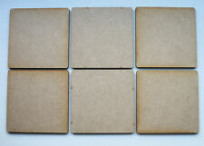 6 x 8cm WOODEN MDF SQUARE CRAFT SHAPES BLANKS, Coasters, model making