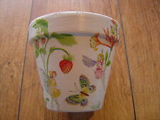 Hand Painted + Decoupaged Flower Pots 11 cm ( Terracotta ) Strawberry Fairy