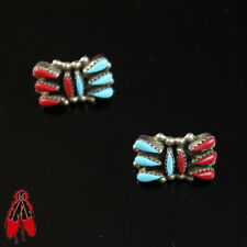 Beautiful block turquoise coral cluster stud earrings sterling silver old pawn
