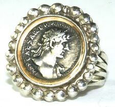 ANCIENT ANTIQUE ROMAN COIN IN HAND WROUGHT 18K STERLING SILVER RING
