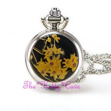 Miniature Silver Floral Flowers Pocket Half Hunter Steampunk Necklace Fob Watch