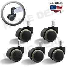 5X Office Chair Caster Soft Wheel Swivel Rubber Wood Floor Furniture Replacement