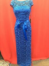 ADRIANNA PAPELL DRESS/NEW WITH TAG/RETAIL$269/LACE DRESS/BLUE/SIZE 12/LINED/