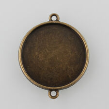 10pcs Antique Bronze Tibetan Flat Round Double-sided Cabochon Connector Settings
