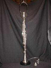 3 METAL CLARINET LAMPS ON HEAVY DUTY BLACK BASES -  CLEARANCE!