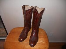 MEN'S  DAN POST #6683 BROWN LEATHER COWBOY WESTERN BOOTS SIZE 9D MADE in SPAIN
