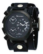 Nemesis LBB080KK Men's Signature Collection 3 Time Zone Wide Leather Cuff Watch
